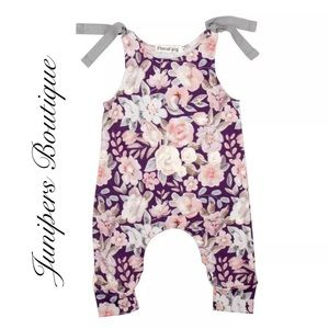Boutique Baby Girls Purple & Gray Romper